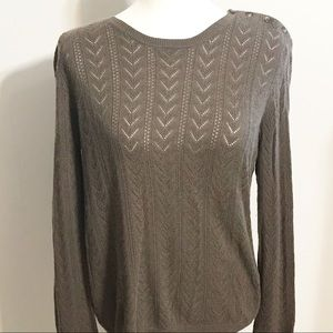 Lauren Ralph Lauren Brown Silk Crocheted Sweater